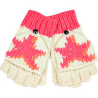 Girls pink star mitten gloves