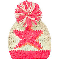 Girls pink star bobble beanie