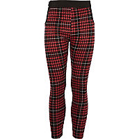 Girls red tartan leggings