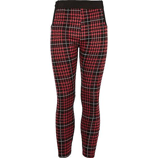 Girls red plaid leggings