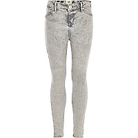 Girls grey acid wash jeggings
