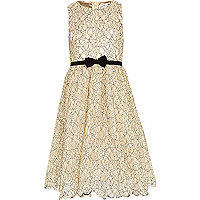 Girls cream lace Little MisDress dress