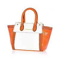 Girls orange colourblock tote bag