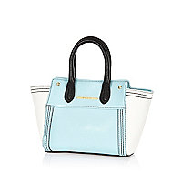 Girls blue colourblock tote bag