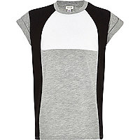 Girls grey colourblock t-shirt