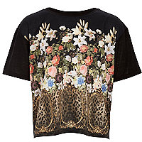 Girls black leopard floral print t-shirt
