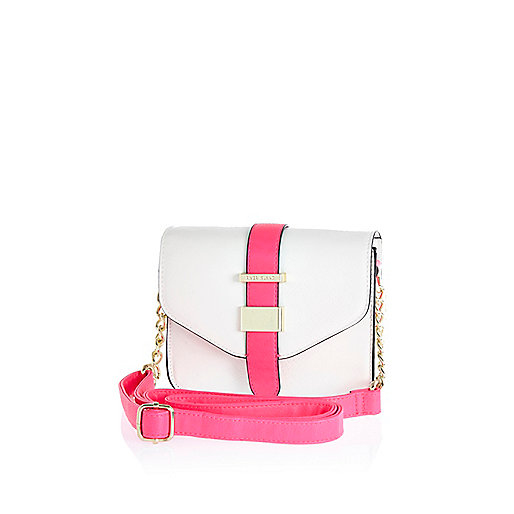 Girls white structured neon crossbody bag