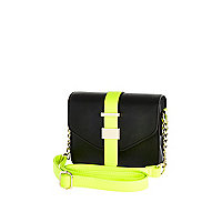 Girls black structured neon crossbody bag