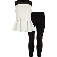 Girls white mesh peplum top and leggings set