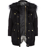 Girls black 3-in-1 faux fur trim parka