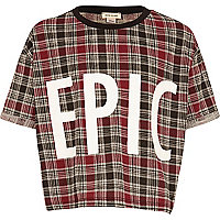 Girls red check Epic cropped t-shirt
