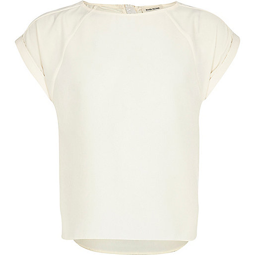 Girls cream short sleeve box t-shirt