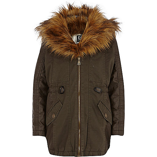 GIrls khaki faux fur collar parka
