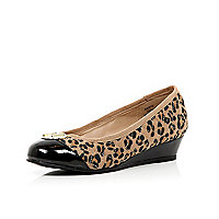 Girls brown leopard quilted ballerina wedges