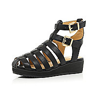Girls black chunky double strap wedge sandals