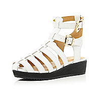 Girls white chunky double strap wedge sandal