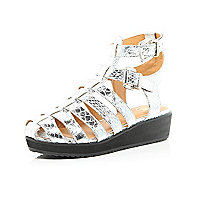 Girls silver chunky strap wedge sandals