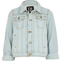 Girls bleach wash denim jacket