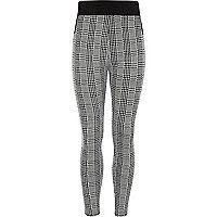 Girls black check ski leggings