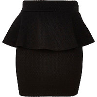 Girls black textured peplum skirt