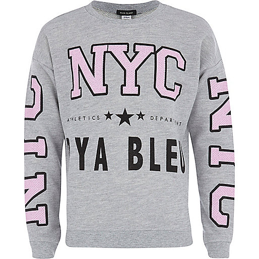 Girls grey new york athletics sweatshirt