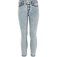 Girls blue acid wash jeggings