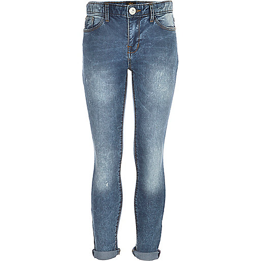 Girls dark denim skinny ocean wash jean
