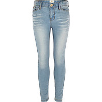 Girls light wash embellished skinny jeans