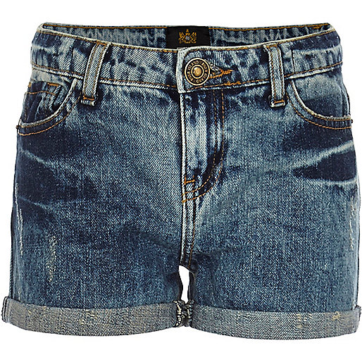 Girls medium acid wash denim shorts