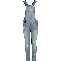 Girls light denim dungarees