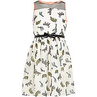 Girls cream safari animal print prom dress