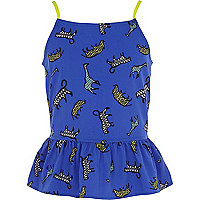 Girls blue safari animal print bow back cami