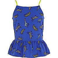 Girls blue safari animal print bow back cami