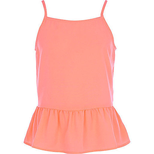 Girls coral bow back cami