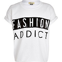 Girls white fashion addict print t-shirt