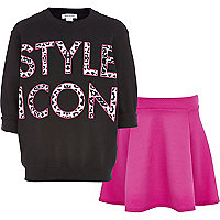 Girls black style icon top and skirt set