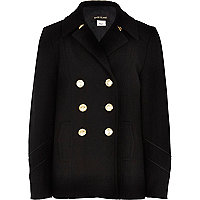 Girls black wool pea coat