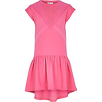 Girls pink textured print dress