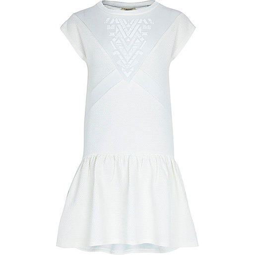 Girls white textured print dress