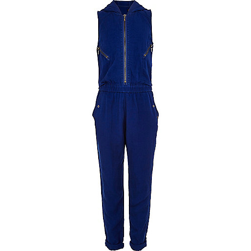 Girls blue zip detail jumpsuit