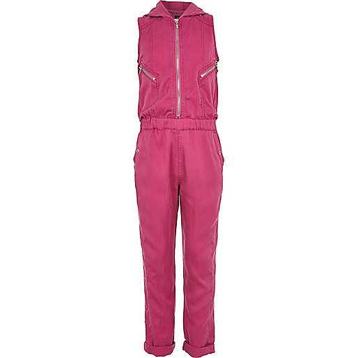 Girls pink zip detail jumpsuit