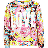 Girls pink doughnut love print sweat