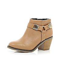 Girls light brown stirrup ankle boot