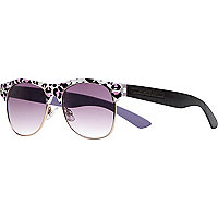 Girls purple leopard retro sunglasses