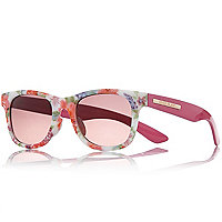 Girls pink floral retro sunglasses