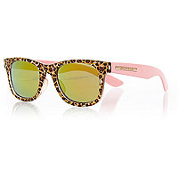 Girls leopard print retro sunglasses