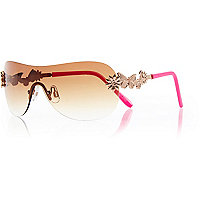 Girls pink neon visor sunglasses