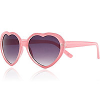 Girls pink glitter heart sunglasses