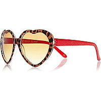 Girls leopard print heart sunglasses