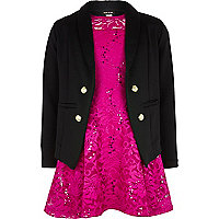 Girls pink skater dress and black blazer set